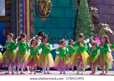 LAS PALMAS, SPAIN - FEBRUARY 23: Unidentified children from Bellarte Dancing School from Canary Islands, onstage during Children's Costume performance, on February 23, 2014 in Las Palmas, Spain - stock photo