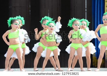 LAS PALMAS , SPAIN - FEBRUARY 10: Unidentified children from dance group Begona Padron, from Canary Islands, perform during Children's Costume and Murgas, on February 10, 2013 in Las Palmas, Spain - stock photo