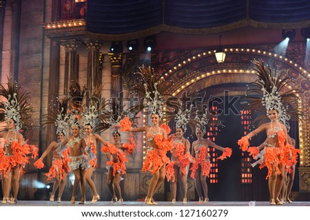 LAS PALMAS, SPAIN - FEBRUARY 2: Unidentified children from dance-group Kisamba from Canary Islands, performs onstage during Children's dance contest on Saturday 2, 2013 in Las Palmas, Spain.
