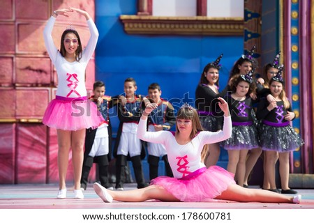 LAS PALMAS, SPAIN - FEBRUARY 23: Unidentified children from Keep Dancing from Canary Islands, onstage during Children's Costume performance, on February 23, 2014 in Las Palmas, Spain - stock photo