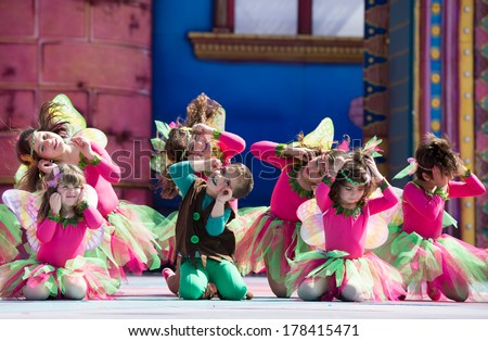 LAS PALMAS, SPAIN - FEBRUARY 23: Unidentified children from Los Tarahales School from Canary Islands, onstage during Children's Costume performance, on February 23, 2014 in Las Palmas, Spain - stock photo