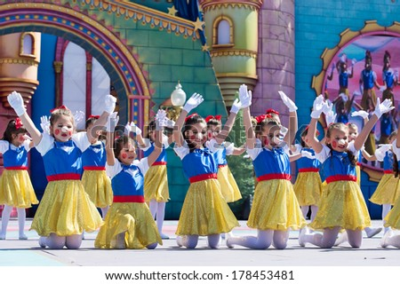 LAS PALMAS, SPAIN - FEBRUARY 23: Unidentified children from  Suleica Borges Dance School from Canary Islands, onstage during Children's Costume performance, on February 23, 2014 in Las Palmas, Spain - stock photo
