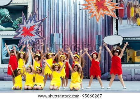 LAS PALMAS, SPAIN - FEBRUARY 12: Unidentified Children from Suleica Borges, from Canary Islands, perform during The Children's Costume Competition on February 12, 2012 in Las Palmas, Spain - stock photo