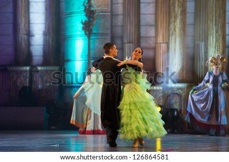 LAS PALMAS, SPAIN - FEBRUARY 1: Unidentified dancers from Canary Islands, during Queens Gala 's opening show on February 1, 2013 in Las Palmas, Spain. - stock photo