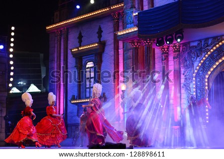 LAS PALMAS, SPAIN - FEBRUARY 15: Unidentified dancers from Garbo's Company, from Canary Islands, performing onstage during the Carnival's Drag Queen Gala on February 15, 2013 in Las Palmas, Spain