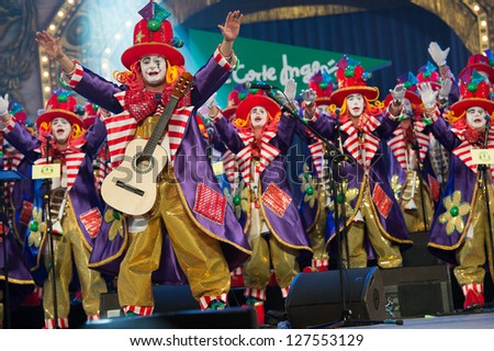 LAS PALMAS , SPAIN - FEBRUARY 5: Unidentified members from Los Jallaos Roniaos, from Canary Islands, performing during the Murgas Contest on February 5, 2013 in Las Palmas, Spain - stock photo
