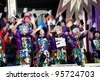 LAS PALMAS ,SPAIN-FEBRUARY 20:Unidentified men from group Murga Los Trapasone, from Canary Islands, performing during Gran Gala on February 20, 2012 in Las Palmas, Spain - stock photo
