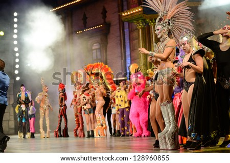 LAS PALMAS, SPAIN -FEBRUARY 15: Unidentified people from Canary Islands, waiting for winner results of Drag Queen Contest during The Carnival's Drag Queen Gala on February 15, 2013 in Las Palmas,Spain