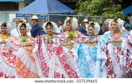 LAS TABLAS, PANAMA, NOV 8th 2015: Young ladies wearing the traditional costume and ornaments of Panama, La Pollera, during the celebration of separation from Colombia Parade.