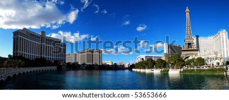 LAS VEGA, NEVADA - MARCH 4: Las Vegas Paris and Bellagio Hotel Casino panorama over lake with Eiffel Tower on strip, March 4, 2010 in Las Vegas, Nevada. - stock photo