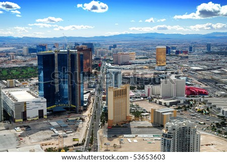 LAS VEGA, NEVADA - MARCH 4: Las Vegas Skyline with hotels on strip., March 4, 2010 in Las Vegas, Nevada. - stock photo