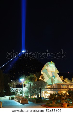 LAS VEGA, NEVADA - MARCH 4:  Luxor Hotel Sphynx statue with blue light beam, March 4, 2010 in Las Vegas, Nevada.