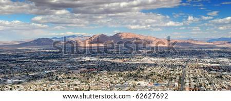 Las Vegas Aerial Panorama with city skyline, mountain and streets. - stock photo