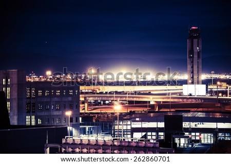 Las Vegas Airport at Night. Las Vegas Architecture. - stock photo