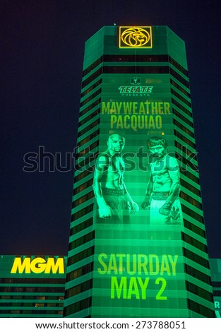 LAS VEGAS - APR 28 : A sign at the MGM Grand advertises about the Floyd Mayweather and Manny Pacquiao fight on April 28 2015 in Las Vegas , the fight scheduled to May 2 2015 - stock photo