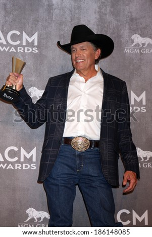 LAS VEGAS - APR 6:  George Strait at the 2014 Academy of Country Music Awards - Arrivals at MGM Grand Garden Arena on April 6, 2014 in Las Vegas, NV - stock photo