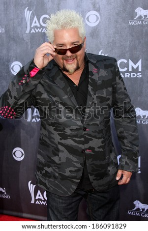 LAS VEGAS - APR 6:  Guy Fieri at the 2014 Academy of Country Music Awards - Arrivals at MGM Grand Garden Arena on April 6, 2014 in Las Vegas, NV - stock photo