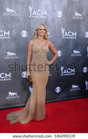 LAS VEGAS - APR 6:  Miranda Lambert at the 2014 Academy of Country Music Awards - Arrivals at MGM Grand Garden Arena on April 6, 2014 in Las Vegas, NV - stock photo