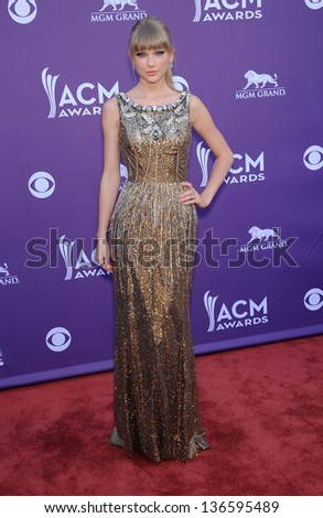LAS VEGAS - APR 07:  Taylor Swift arrives to the Academy of Country Music Awards 2013  on April 07, 2013 in Las Vegas, NV. - stock photo