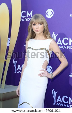 LAS VEGAS - APR 1: Taylor Swift at the 47th Annual Academy Of Country Music Awards held at the MGM Grand Garden Arena on April 1, 2012 in Las Vegas, Nevada - stock photo