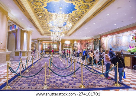 LAS VEGAS - APR 23 : The lobby of Venetian hotel & Casino in Las Vegas on April 23, 2015. With more than 4000 suites it's one of the most famous hotels in the world. - stock photo