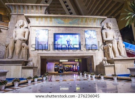 LAS VEGAS - APR 28 : The Luxor hotel and casino interior on April 28 2015 , The hotel located on the Las Vegas Strip, contains a total of 4,400 rooms lining the interior walls of a pyramid style tower - stock photo