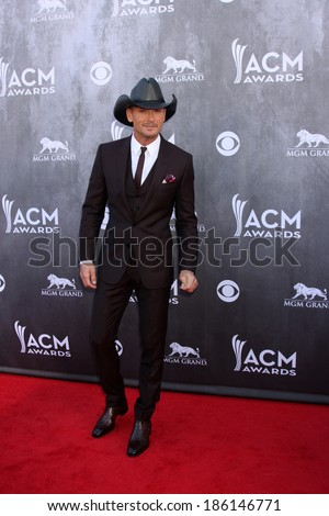 LAS VEGAS - APR 6:  Tim McGraw at the 2014 Academy of Country Music Awards - Arrivals at MGM Grand Garden Arena on April 6, 2014 in Las Vegas, NV - stock photo