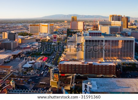 LAS VEGAS - APRIL 1: An aerial view of Las Vegas strip is shown in this image taken on April 1, 2009 in Las Vegas, Nevada. The strip is approximately 4.2 mi (6.8 km) long. - stock photo