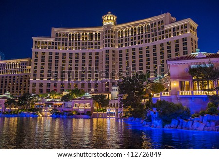 LAS VEGAS - APRIL 13 : Bellagio hotel and casino on April 13 , 2016 in Las Vegas. Bellagio is a luxury hotel and casino located on the Las Vegas Strip. The Bellagio opened on 1998.