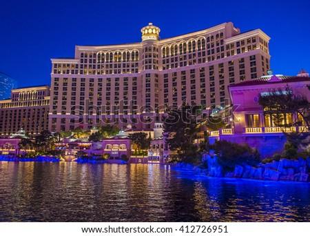LAS VEGAS - APRIL 13 : Bellagio hotel and casino on April 13 , 2016 in Las Vegas. Bellagio is a luxury hotel and casino located on the Las Vegas Strip. The Bellagio opened on 1998. - stock photo