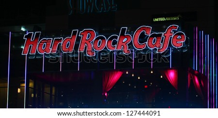 LAS VEGAS - APRIL 22: Hard Rock Cage Sign on April 22, 2012 in Las Vegas, Nevada.  The Hard Rock chain of restaurants was started in 1971. - stock photo