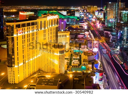 LAS VEGAS - APRIL 2: In this time lapse image, traffic travels along the Las Vegas strip on April 2, 2009 in Las Vegas, Nevada. The strip is approximately 4.2 mi (6.8 km) long.