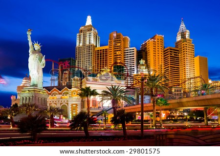LAS VEGAS - APRIL 15: New York-New York located on the Las Vegas Strip is shown on April 15, 2009 in Las Vegas. Replica of the Statue of Liberty is 150 ft (46 m) and the property opened in 1997. - stock photo