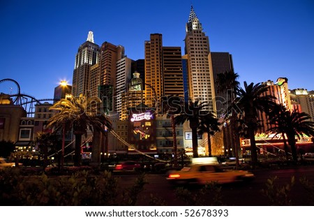 LAS VEGAS - APRIL 09: New York-New York located on the Las Vegas Strip is shown on April 09, 2010 in Las Vegas. The property opened in 1997. - stock photo