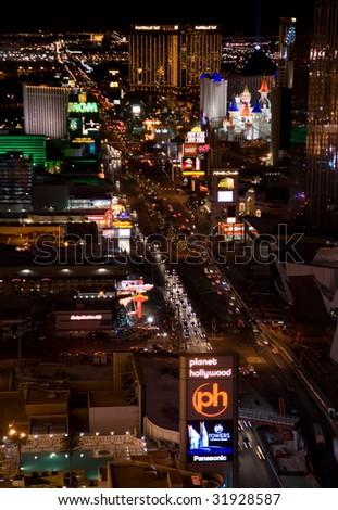 LAS VEGAS - April 22: Night Panorama of Las Vegas Boulevard, The Strip. Hotels and casinos of Las Vegas, on April 22, 2009 in Las Vegas, Nevada - stock photo
