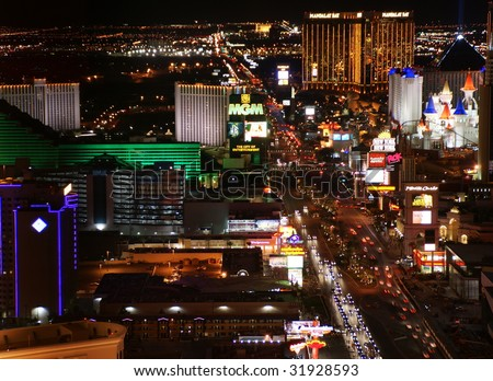 LAS VEGAS - April 22: Night Panorama of Las Vegas Boulevard, The Strip. Hotels and casinos of Las Vegas, on April 22, 2009 in Las Vegas, Nevada - stock photo