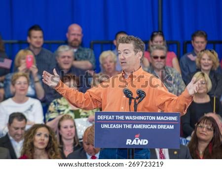 LAS VEGAS - APRIL 11 :Republican presidential candidate U.S. Sen. Rand Paul speaks during a rally in Las Vegas, Nevada on April 11 2015 - stock photo