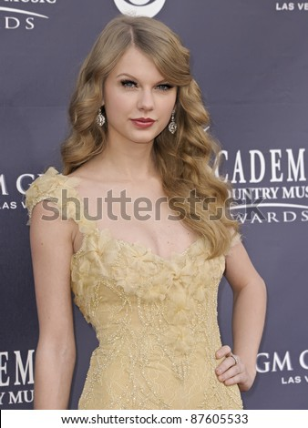 LAS VEGAS - APRIL 3 - Taylor Swift attends the 46th Annual Academy of Country Music Awards in Las Vegas, Nevada on April 3, 2011. - stock photo