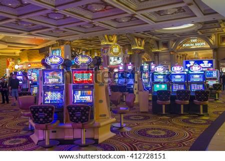 LAS VEGAS - April 13 : The Caesars Palace interior on April 13, 2016 in Las Vegas. Caesars Palace is a luxury hotel and casino located on the Las Vegas Strip. Caesars has 3,348 rooms in five towers  - stock photo