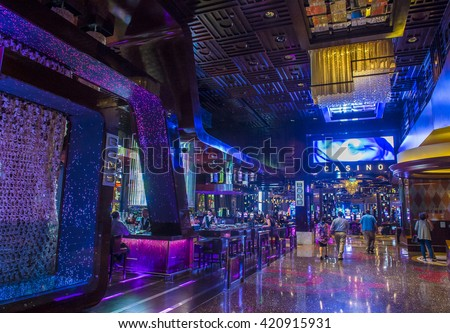 LAS VEGAS - APRIL 13 : The Cosmopolitan hotel casino interior in Las Vegas on April 13 2016. The Cosmopolitan opened in 2010 and it has 2,995 rooms and 75,000 sq ft casino. - stock photo