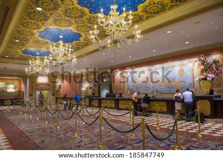 LAS VEGAS - APRIL 05 : The interior of the Venetian hotel & Casino in Las Vegas on April 05, 2014. With more than 4000 suites it's one of the most famous hotels in the world. - stock photo
