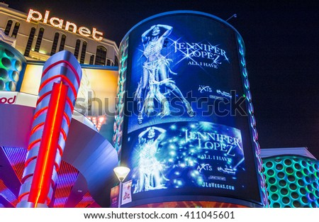 LAS VEGAS - APRIL 13 :The Jennifer Lopez show poster at Planet Hollywood Resort on Apeil 13 , 2016 in Las Vegas. The two hour show include a live band, dancers and it include Jennifer Lopez top songs.