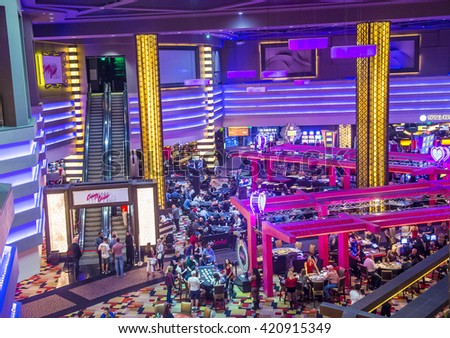 LAS VEGAS - APRIL 13 : The Planet Hollywood casino in Las Vegas on April 13 2016. Planet Hollywood has over 2,500 rooms available and it located on Las Vegas Boulevard. - stock photo