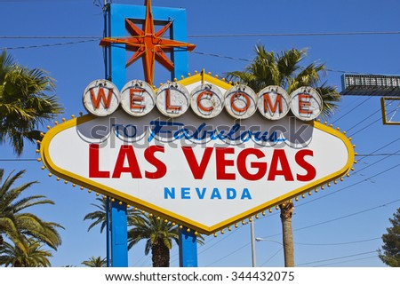 Las Vegas - April 2010: Welcome to Fabulous Las Vegas sign on the Las Vegas Strip I - stock photo
