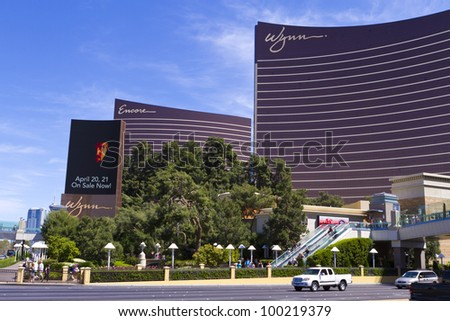 LAS VEGAS - APRIL 10: Wynn and Encore Las Vegas Resort and Country Club located on the Las Vegas Strip on April 10, 2012 in Las Vegas. Its cost US$2.7 billion to build with 4,750 rooms 7100sqm casino. - stock photo