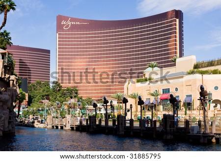 LAS VEGAS - APRIL 2: Wynn Las Vegas Resort and Country Club located on the Las Vegas Strip on April 2, 2009 in Las Vegas. Wynn opened on April 28, 2005 and cost US$2.7 billion to build. - stock photo