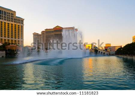 Las Vegas at sunset - stock photo
