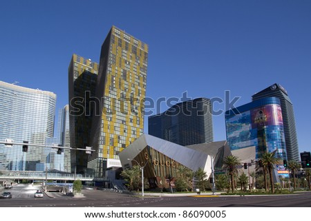 LAS VEGAS - AUG 15: City Center on August 15, 2011 in Las Vegas, Nevada. This mixed-use complex, 76 acres, opened in December 2010 and was the largest privately funded construction project in US history. - stock photo