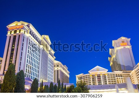 LAS VEGAS - AUG 14 :The Caesars Palace hotel on August 14, 2015 in Las Vegas. Caesars Palace is a luxury hotel and casino located on the Las Vegas Strip. Caesars has 3,348 rooms in five towers  - stock photo