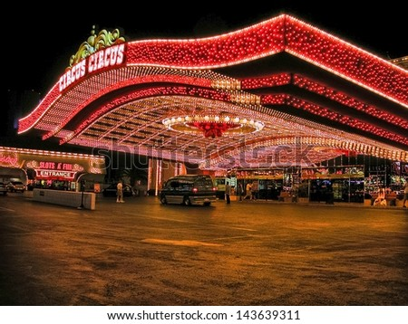 LAS VEGAS - AUG 19: The Circus Circus hotel and casino on August 19, 2009 in Las Vegas. Las Vegas attracts more than 35 million tourists every year. - stock photo